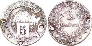 P1726 Essai 5 centimes Globe 2 Grammes 1877 Paris Silver ->Faire offre