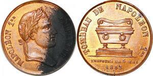 P1728 Rare Médaille Napoléon Inauguration du tombeau 1853 SPL -> Faire offre