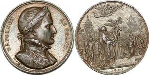 P1733 Rare Médaille cerceuil Napoleon Paris retour cendres 1840 Montagny SUP