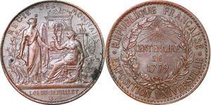P1745 Médaille Centenaire exposition universelle 1789 1889 Regie & monnaies SUP