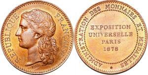 P1750 Rare Médaille Exposition Universelle Administration Monnaies 1878 SPL