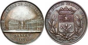 P1755 Medaille Chambre de Commerce Nancy 1855 Borrel Argent Silver SUP