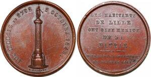 P1784 Médaille 1792 Habitants de Lille Hommage aux Lillois 1845 SUP
