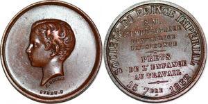 P1799 Médaille Louis Napoléon Bonaparte Société Prince 1862 Peyre Stern SPL
