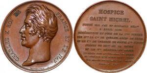 P1865 Rare Médaille Charles X Depaulis Hospice Saint Michel Boulard 1826 SPL