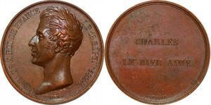 P1866 Rare Médaille Charles X  Le Bien Aimé Vivier 1824 Leveque SPL