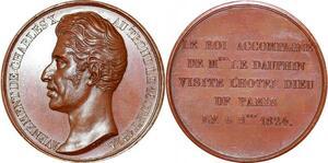 P1867 Rare Médaille Charles X Roi accompagne Dauphin Hotel Dieu Paris 1824 SPL