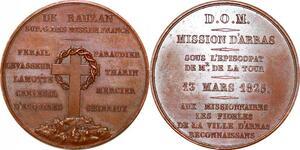 P1871 Rare Médaille Ville Arras Dom Missions Mr De la Tour 1825 SPL