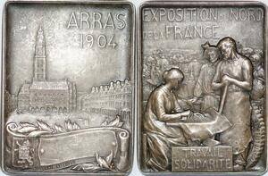 P1874 Plaque Medaille Expostion Nord France 1904 Silvered Argent SUP -> F offre