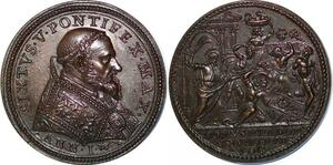 P1875 Medal Vatican Sixte V Medici Milano death sentence Carlo Giovanni AU