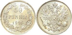 P1883 Finland 50 Pennia Nicholas II 1916 S PCGS MS63 Argent Silver