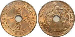 P1896 Indochina rare 1 Centime 1901 A Paris PCGS MS64