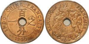 P1898 Indochina rare 1 Centime 1900 A Paris PCGS MS63