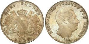 P1906 Germany rare 2 Gulden Léopold Grosherzog 1850 PCGS MS64 Argent Silver BU