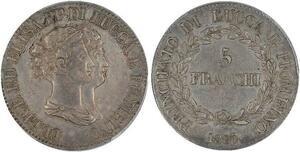 P1914 Italy 5 Franchi Felice Elisa 1807 Silver PCGS XF45