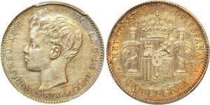 P1918 Spain rare Un Peseta Alfonso XIII 1896 PG V PCGS AU55 Silver