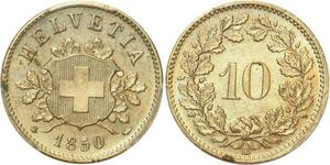 P1932 Switzerland rare 10 Rappen 1850 BB Strasbourg PCGS MS64 Silver