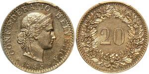 P1935 Switzerland Swiss 20 Rappen 1885 B Berne PCGS MS64