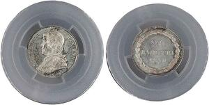 P1937 Finest Vatican 20 Baiocchi Pius IX Pont 1850 R Roma Silver PCGS MS65