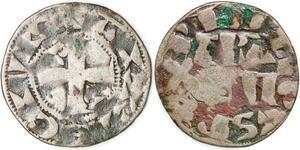 P1951 Rare Philippe II Auguste Denier de Paris Parisii Civis Argent ->F offre