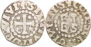 P1953 Rare Denier Herbert I Éveille-Chien 1014 1032 Signvm Dei Vivi Argent
