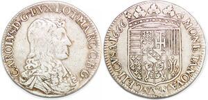 P1984 Rare Teston duché de Lorraine Charles IV 1666 Nancy Argent ->Faire offre