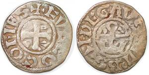 P1991 Anjou Foulques V et Geoffroi IV denier Angers Fvlco comes ->Faire offre
