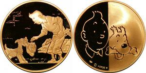P3354 Rarissime Médaille Tintin Hergé 1995 Vol 714 Sidney Or Gold Proof Be
