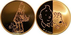 P3356 Rarissime Médaille Tintin Hergé 1995 Alph-Art Or Gold Proof Be