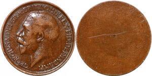 P2180 Scarce United Kingdom Uniface Half Penny George V Blank Planchet