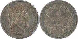 P2242 Rare 1 Franc Louis Philippe I 1846 A Paris PCGS AU55 Argent Silver SUP