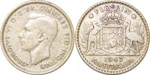P2327 Australia Florin George VI 1947 Silver ->Make offer