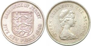 P2355 Bailiwick Jersey 5 new Pence 1968 - >Make offer