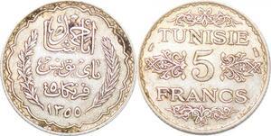 P2429 Tunisia 5 Francs Ahmad Pasha Bey 1355 Argent ->Faire offre