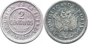 P2467 Bolivia 2 Centavos Union Fuerza 1987 UNC ->Make offer
