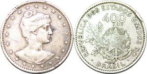 P2475 Brazil 400 Reis Liberty 1901 Silver ->Make offer