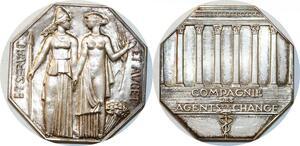 P2515 Rare Médaille Art Deco Belmondo Agents de Change Bourse Paris Argent FDC