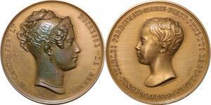 P2550 Médaille Charles X Duchesse de Berry Bordeaux 1827 Dubois Desnoyers SUP