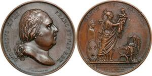 P2561 Médaille Louis XVIII Naissance de Henri V 1820 Depaulis Desnoyers SPL