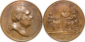 P2563 Rare Médaille Louis XVIII Bapteme duc Bordeaux 1821 Galle Desnoyers SPL
