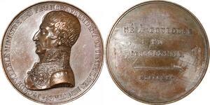 P2573 Rare Médaille Charles X Louis XVIII Joseph de Villèle 1825 Desnoyers