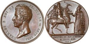 P2583 Rare Charles X roi Reims sacre Vivier 1825 2eme ex connu Desnoyers SPL
