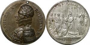 P2610 Rare Médaille Charles X sacre Roi 1825 29 Mai 1825 Desnoyers SUP