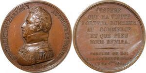 P2651 Rare Médaille Charles X Avènement Trône 1824 Couronne Desnoyers SUP