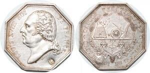 P2665 Médaille Octogonale Louis XVIII Poinçon colonies 1820 Argent Desnoyer SPL