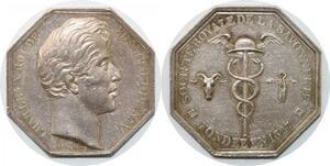 P2671 Rare Médaille Charles X Société Royale 1827 Dubois Argent Desnoyers