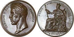 P2697 Rare Médaille Coronation Charles X Gayrard 1825 Desnoyers SPL