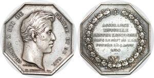 P2713 Médaille Charles X Assurances Incendie Ain 1824 Dubois Desnoyers