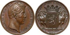 P2736 Médaille Charles X Passage Roi Valenciennes 1827 Desnoyers SPL