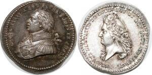 P2757 10mm Médaille Louis XVIII Inauguration statut Louis XIV Desnoyers SPL